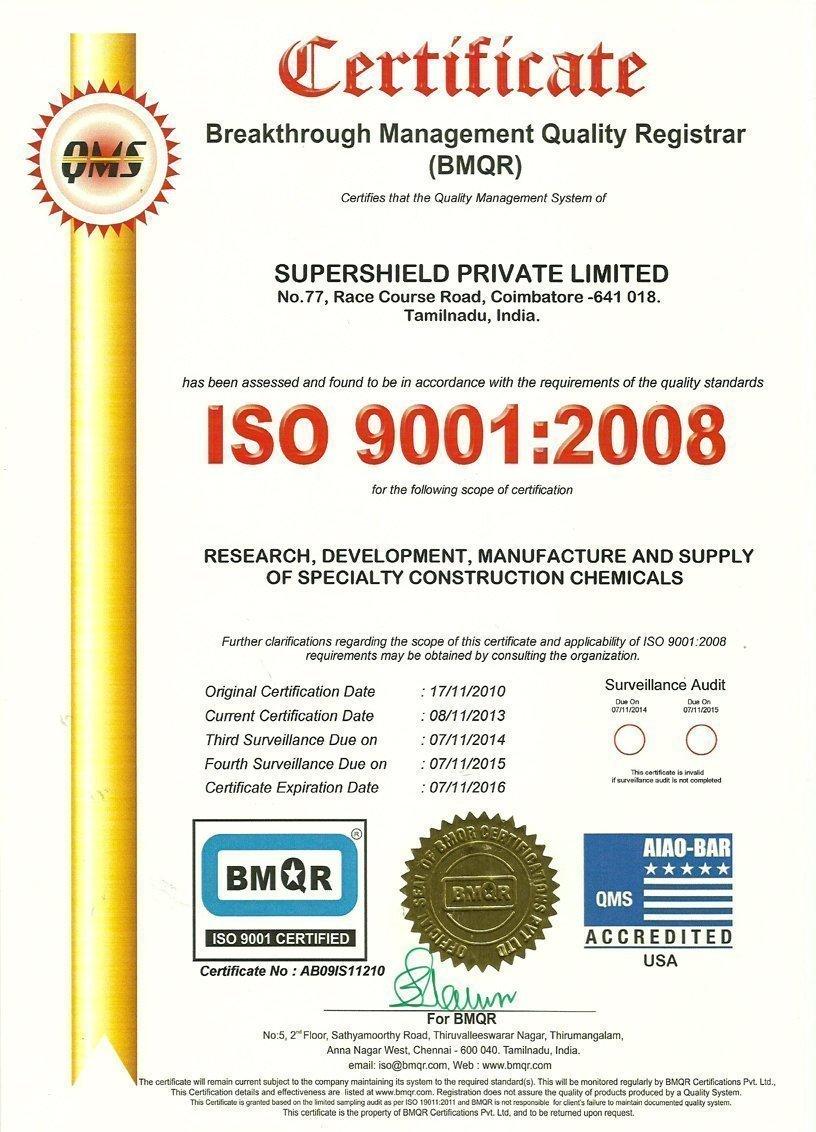Supershield ISO Certificazione