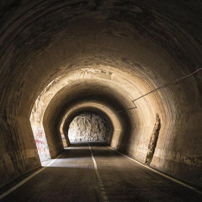 Old tunnel with galleries through which light enters in Spain